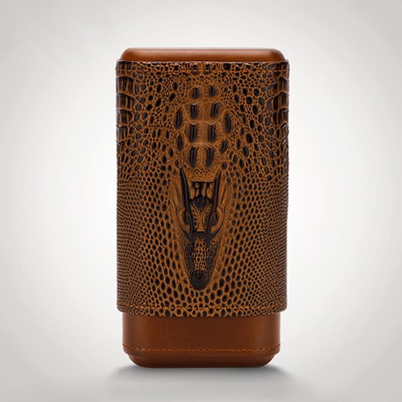 LUBINSKI Cigar Case Lether Cedar Wood Cigar Holder Travel Humidor