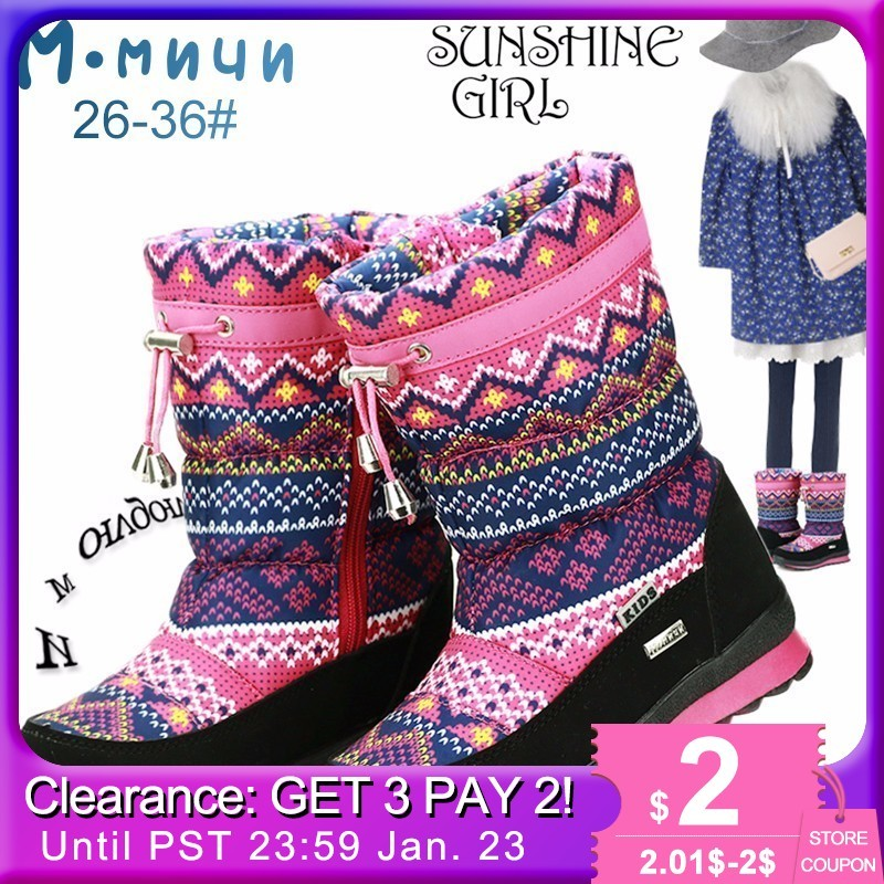 Mmnun Winter Boots Girls Anti-slip Winter Children Shoes Girls Boots Warm Shoes Girls Kids Boots Size 26-36 Ml9615
