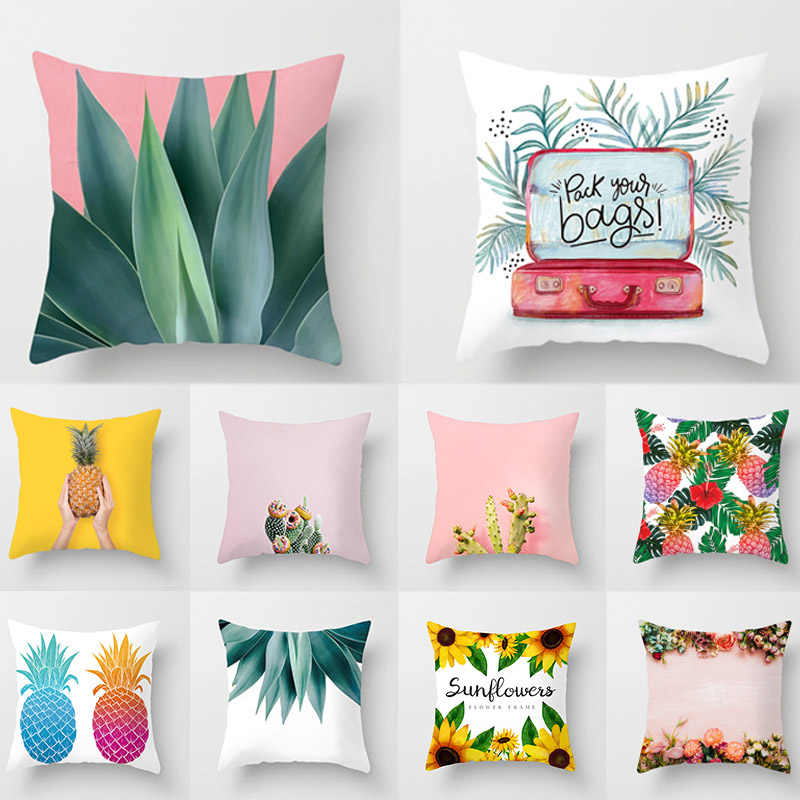 High Quality Plant Polyester Pillow Case Covers 1PC Home Cactus Bedroom Home Textile Decorative