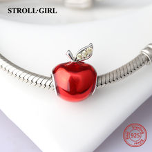 Strollgirl 925 Silver Red Enamel Apple beads Fit Authentic Pandora bracelet DIY Jewelry(China)