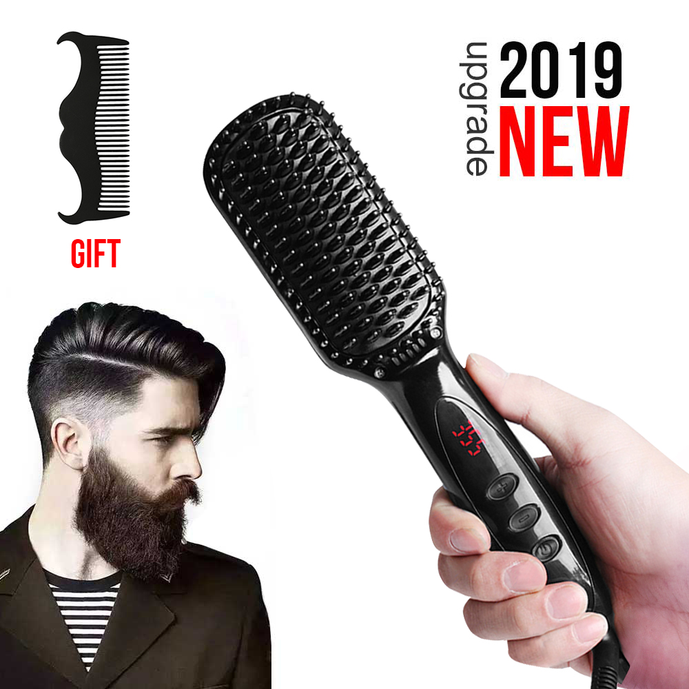 Men Quick Beard Straightene Comb Irons Hair Straightener Styling Tools With LCD Detangling Straightening comb