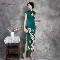 Women Chinese Tradition Dress Qipao Printing Cheongsam Plus Size Long Qi Pao Dresses 2019 New Green Elegant Retro Dressing Gown
