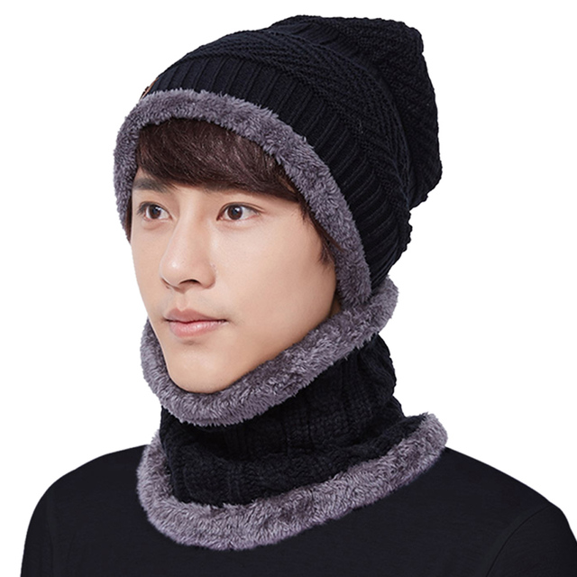 a10abe0f5 US $7.01 33% OFF|Warm Knit Beanie Scarf Set Plush Hat Neckerchief Set Men  hat and scarf set for women Skull Cap women winter hats and scarves-in ...