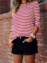 2018 New Women Fashion Spring Autumn Shirt Striped Loose t-Shirt Long Sleeve Casual Loose Shirt Tops(China)