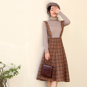 Image 2 - Японский Mori Girl Сарафан осенний корейский модный женский жилет без рукавов Коричневые Клетчатые Шерстяные Зимние платья на бретельках Vestidos