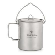 TOMSHOO 750ml Titan Topf Titan Wasser Becher Tasse mit Deckel und Faltbare Griff Outdoor Camping Topf Kochen Töpfe Picknick hängen Topf