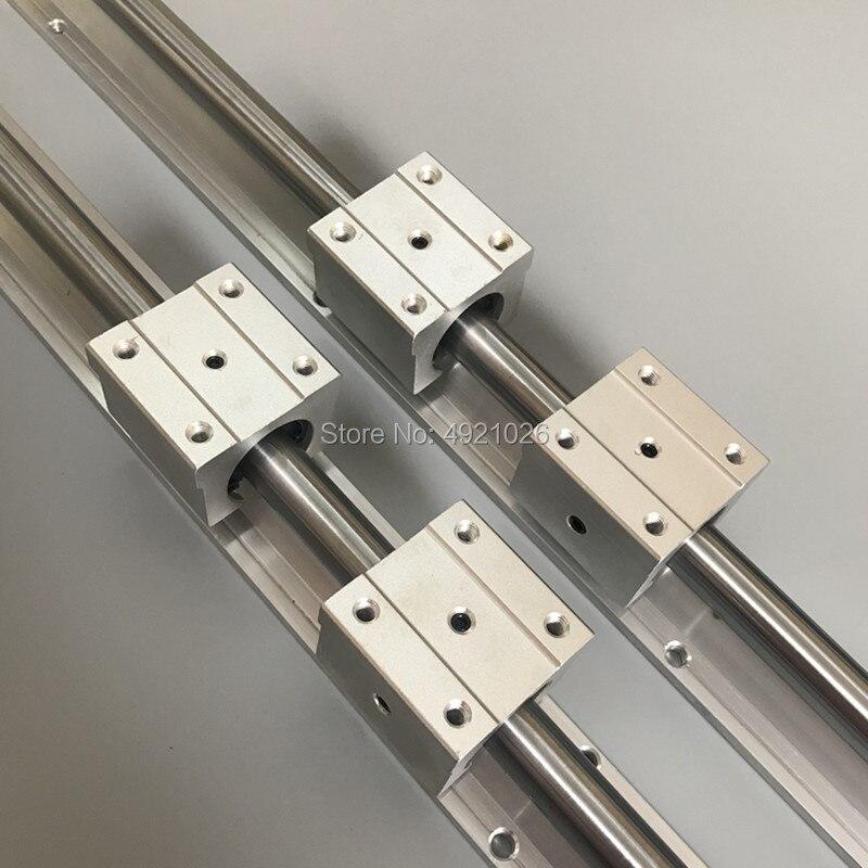 Frete grátis 2 pcs SBR12 12 milímetros linear rail 200 250 300 350 400 450 milímetros guia linear + 4 pcs SBR12UU para cnc parte
