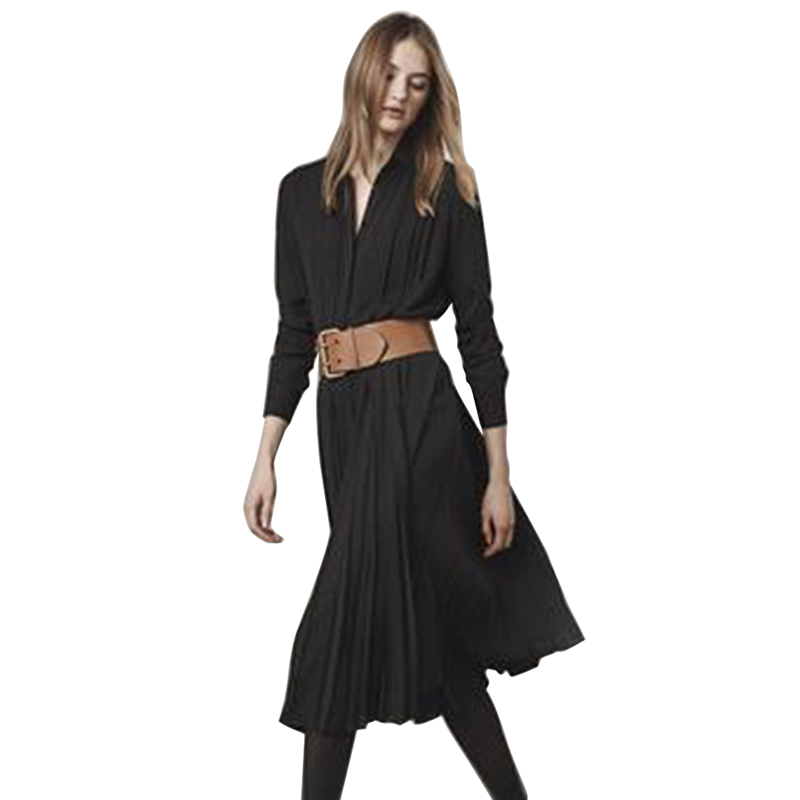 Col Vêtements Plissée Noire De Turn Longues Robe À Noir D'été Chemise 2019 Collection Manches Nouvelle Travail Ceinture Femmes Élégante down l1cFKTJ