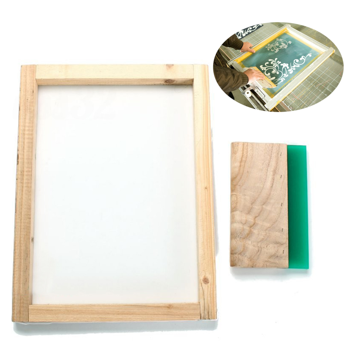300*400mm Silk Screen Printing Frame with 43T Mesh & 8 Wooden Squeegee DIY300*400mm Silk Screen Printing Frame with 43T Mesh & 8 Wooden Squeegee DIY