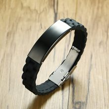 Sport Silicone Men Bracelet Stainless Steel Wristbands DIY Adjustable Male Black Rubber Bangle Boyfriend Gifts(China)