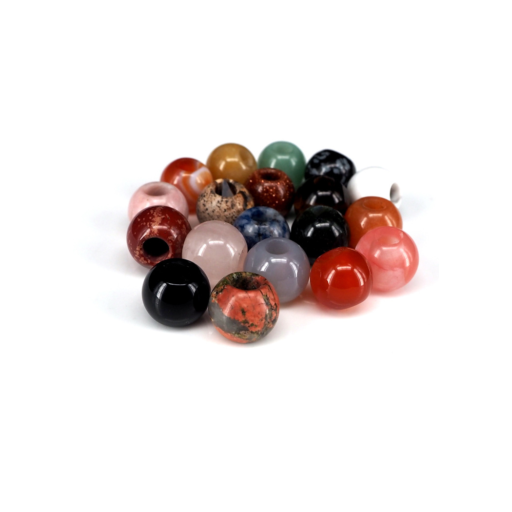 ICNWAY Big Hole Gemstone Natural Beads 8mm 12mm 14mm Round and 2mm 3mm 5mm Hole Making Jewelry DIY Necklace Pendant Bracelet(China)