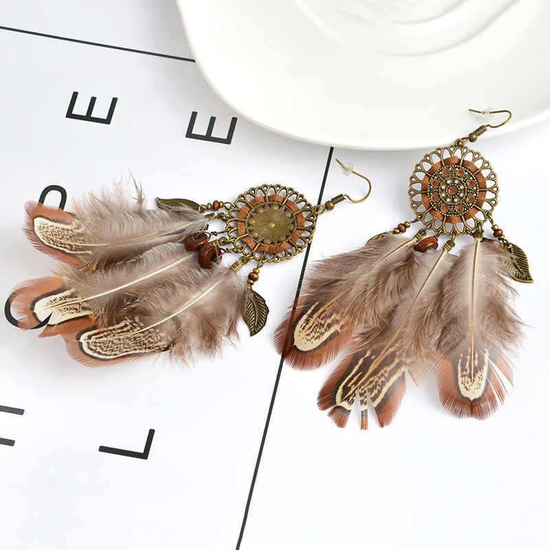 ใหม่สไตล์ Dream Catcher VINTAGE Big Hollow ดอกไม้และใบโบฮีเมียต่างหูผู้หญิงยาว Feather Tassels ต่างหูเครื่องประดับ