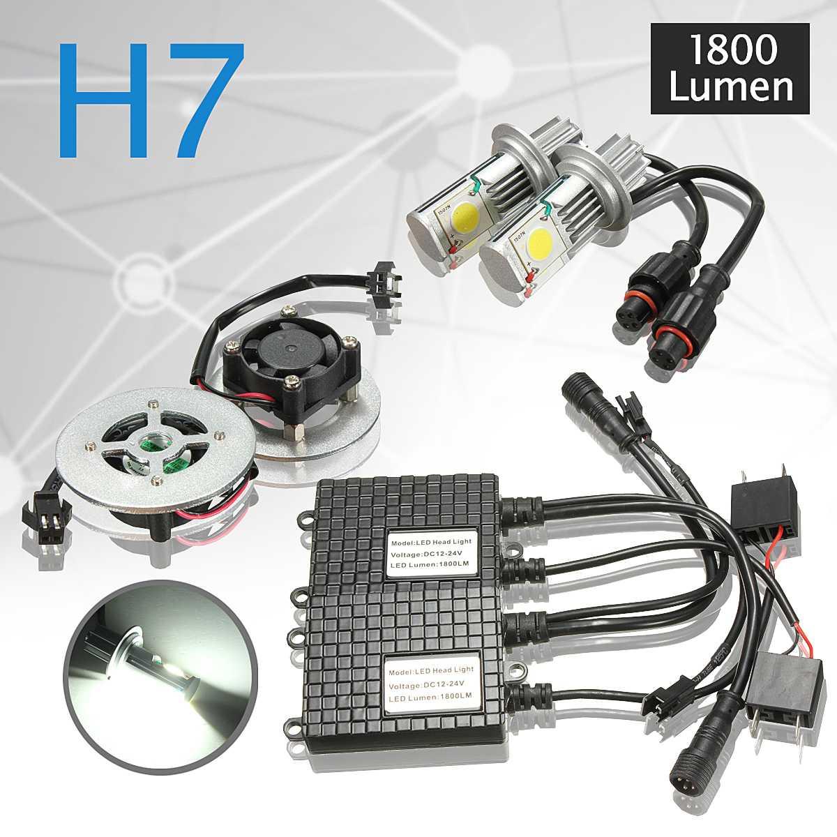 2x Авто 50 w 1800LM 6500 k H7 светодиодный головы передняя лампа Foglight Комплект DC 12 V 24 V низкое потребление энергоэффективный свет