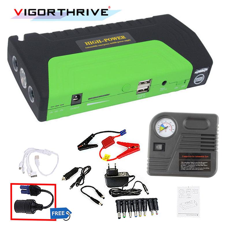 power bank Car Jump Starter Emergency 12V Starting Device 2USB SOS Light Mobile Power Bank Car Charger For Car Battery