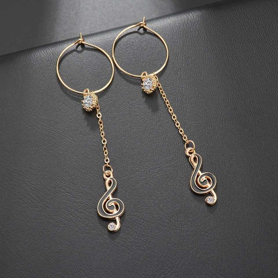 Women Musical Note With Rhinestone Drop Earrings Trendy Jewelry Female Long Earrings Handmade Earring Jewelry Gifts For Women