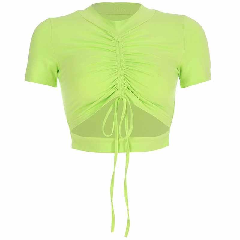 Летняя футболка в стиле хип-хоп, 2019, сексуальная черная футболка Повседневная короткий топ для фитнеса, зеленая уличная тонкая футболка с готическим рисунком, рубашки для девочек