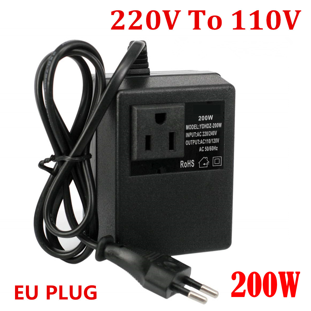 200 W convertisseur de tension transformateur 220 V à 110 V abaisseur voyage transformateur de tension convertisseur EU Plug