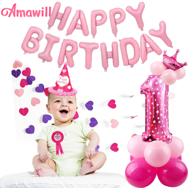 Amawill Baby Shower Girl 1st Birthday Party Balloons Decoration Kit
