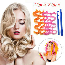 12/24 Pcs Lady Long Hair DIY Magic Curl Spiral Ringlets Rollers Tool Long Hair Curlers Water Ripple Hair Divider