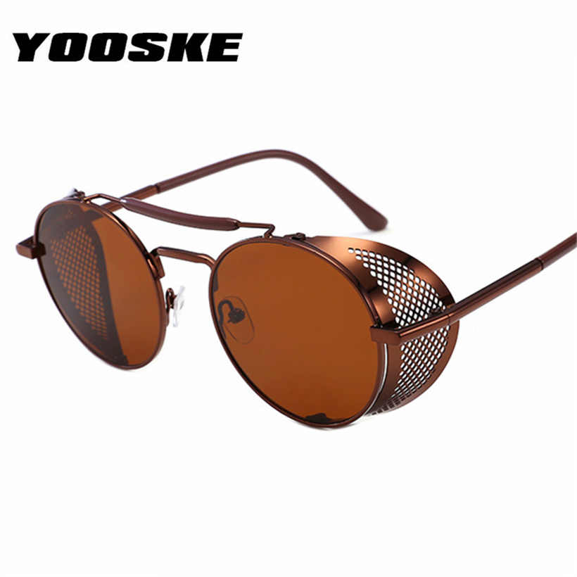 51a29d0bf9dd YOOSKE Men Steampunk Sunglasses Women Retro flip Metal Round Frame Sun  Glasses Women High Quality Vintage