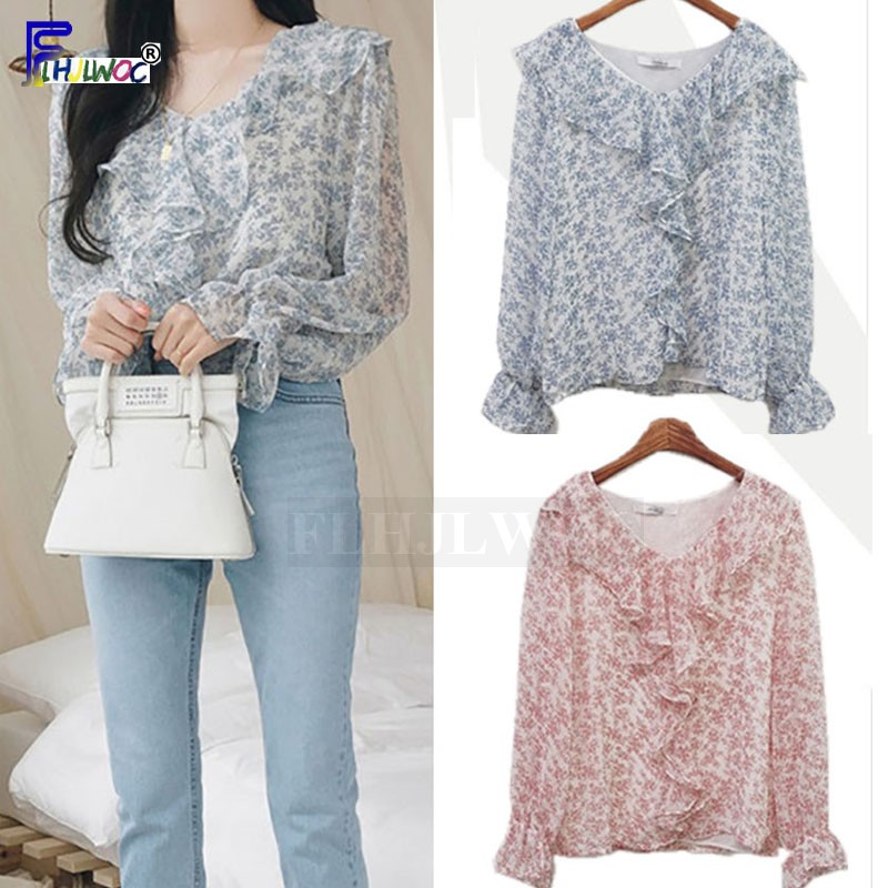 Women's Chiffon   Blouse     Shirts   Cute Casual Preppy Style Floral Chiffon Vintage Long Sleeve Elegant   Shirt   Korean Fashion Tops