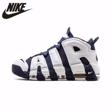 цена Nike Air More Uptempo Olympic Original Men Breathable Basketball Shoes Comfortable Massage Sneakers #414962-104 онлайн в 2017 году