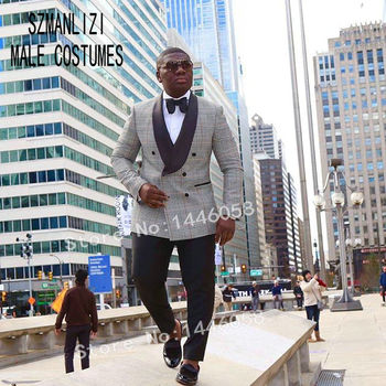 New 2019 Costume Homme Slim Fit Houndstooth Plaid Double Breasted Suit Groom Dress Men Wedding Suits For Men Prom Tuxedo Blazer