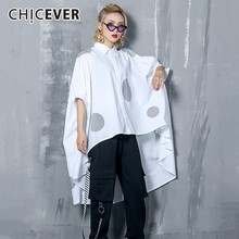 CHICEVER Polka Dot Print  Batwing Sleeve Asymmetric Hem Loose Oversize Blouse