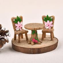 3pcs/Set Table Chair Resin Craft Micro Landscape Ornament Fairy Garden Miniature Terrarium Figurine Bonsai Decoration