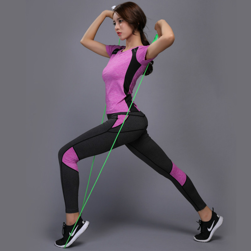 Patchwork Yoga Set Gym Fitness Clothing Tennis Sport Top Pants Running Tight Jogging Workout Yoga Leggings