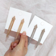 2019 Korea Earrings Crystal Geometric Gold Silver Long Tassel Exaggerated Earring For Women Boho Punk Summer Beach Gift