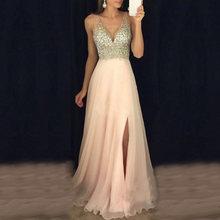 48f23ae71cc Для женщин формальные свадебные подружки невесты Вечерние вечернее длинное  платье Элегантные Роскошные sexy Глубокий V ремень