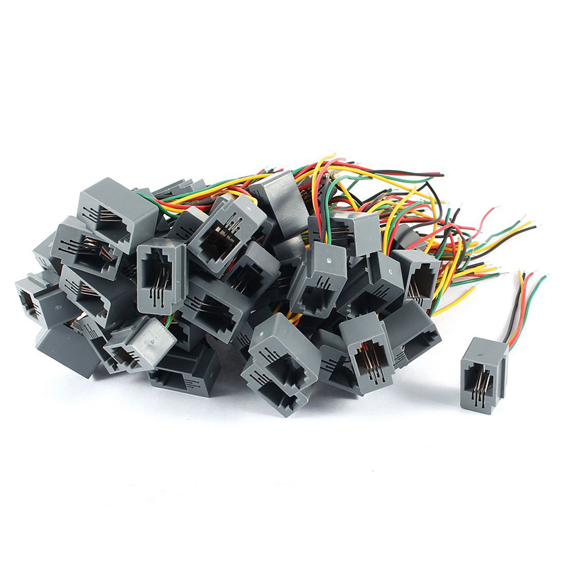 50 Pcs 616E 4P4C RJ9 Female Telephone Connector Adapter W 4 Wires 8cm