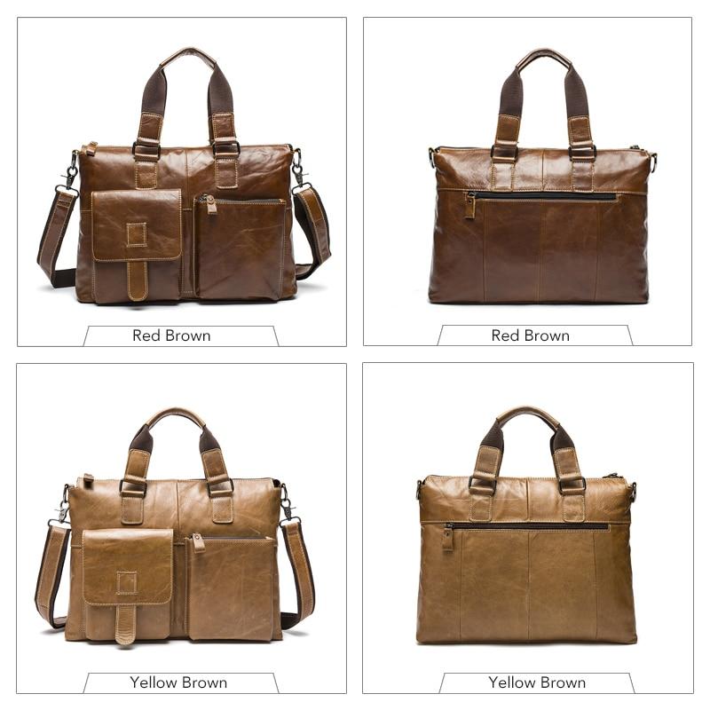 Hombre 14 portátil bolsos de bandolera bolsa de hombres para hombres de cuero maletín abogado de los hombres de negocios maletines de cuero genuino de los hombres de la bolsa-in Carteras from Maletas y bolsas    3