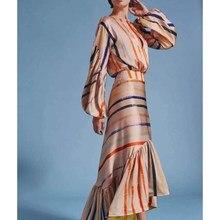 2019 New Lantern Sleeve Striped Mermaid Dress Women Summer Sexy Ruffle Irregular Maxi Dresses Empire Bodycon