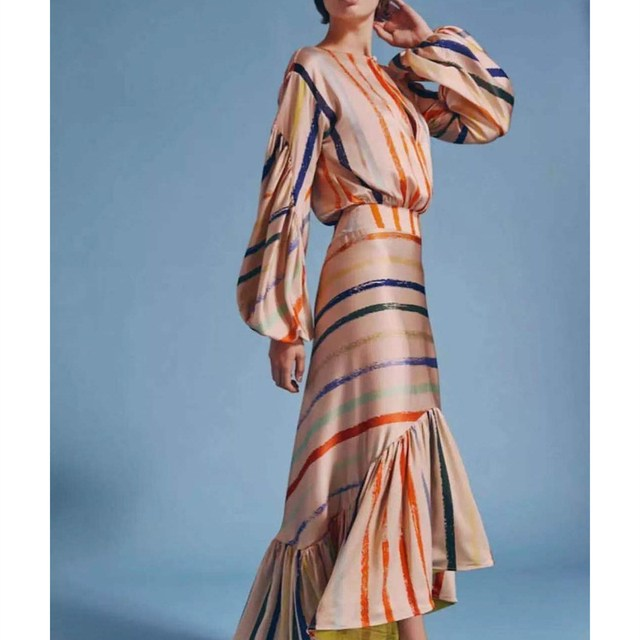 2019 New Lantern Sleeve Striped Mermaid Dress Women Summer Sexy Ruffle Irregular Maxi Dresses Empire Bodycon Dress