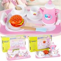 Wooden Kitchen Toys Tableware Mini Cute Coffee Tea Set Pretend Play DIY Kitchen Afternoon Tea Toys For Children Birthday Gift