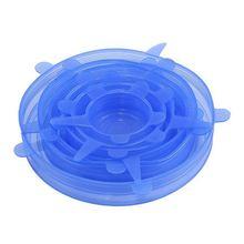 Силиконовые эластичные крышки 6 упаковок разного размера растягивающиеся пищевые крышки для чашек, горшков, банок, мисок, посуды, кружек, банок