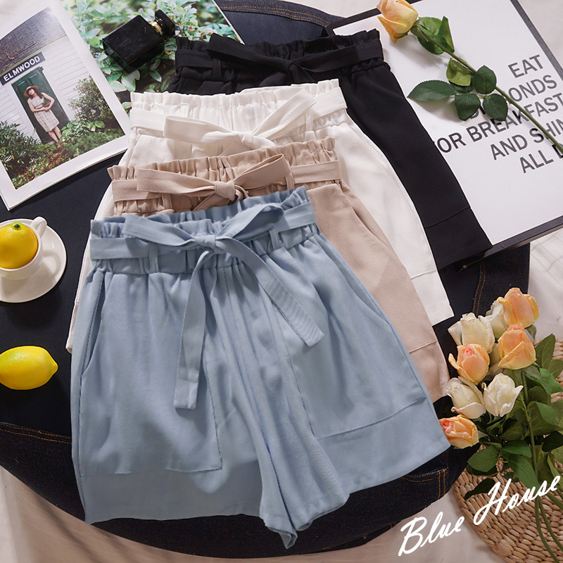 Blue Casual Wide Leg   Short   Women Pink High Waist With Sashes Hotpants Pocket Loose Solid   Shorts   Bottoms
