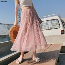 Womens Girls Lace Skirts Spring New 2018 Boutique Embroidery Long Skirt High Elastic Waist Gauze Pleated Beach