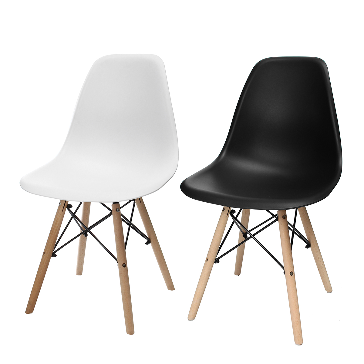 Awe Inspiring 4Pcs Modern Wood Dining Chairs Minimalist Computer Office Chair Casual Home Back Seat Coffee Shop Chair Furniture White Black Cjindustries Chair Design For Home Cjindustriesco