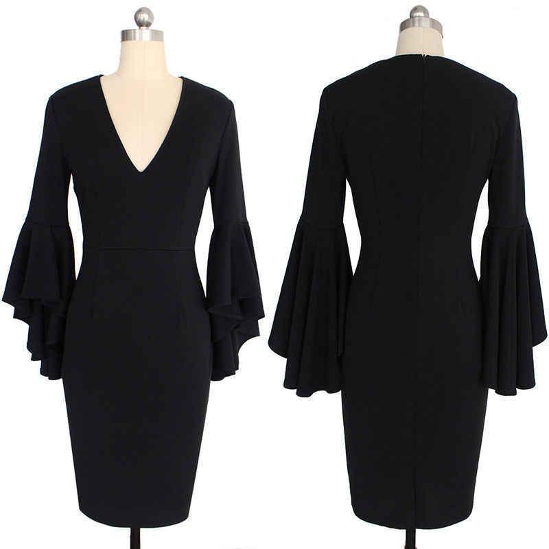 2019 Plus ขนาด 3XL Midi Dress ผู้หญิงจุดดอกไม้พิมพ์สีดำสีแดงลึก V คอ Flare Sleeve Elegant Slim Bodycon ชุดดินสอ
