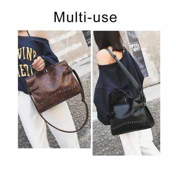Herald Fashion Rivet Vintage Female Handbag Quality Leather Messenger Bag Women Shoulder Bag Larger Top-Handle Bags Travel Bag