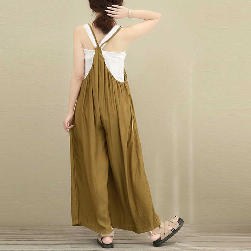 ac46137c1e54 ... 2018 New ZANZEA Women Overalls Rompers Plus Size S-5XL Sleeveless Dungarees  Long Trousers Wide