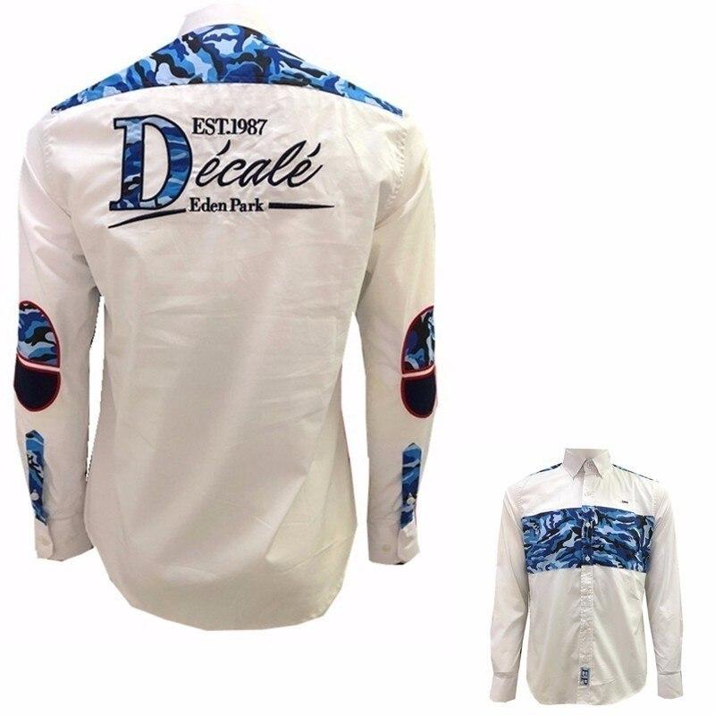 b8ddd9032c Camisas dos homens Faconnable Eden Park Marca Homem Moda Primavera Manga  Longa Roupas Aeronautica Camisa de