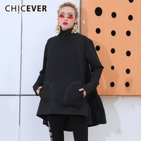 CHICEVER 2019 Spring Autumn Sweatshirts For Women Turtleneck Long Sleeve Irregular Hem Ruffles Pullovers Casual Clothes New