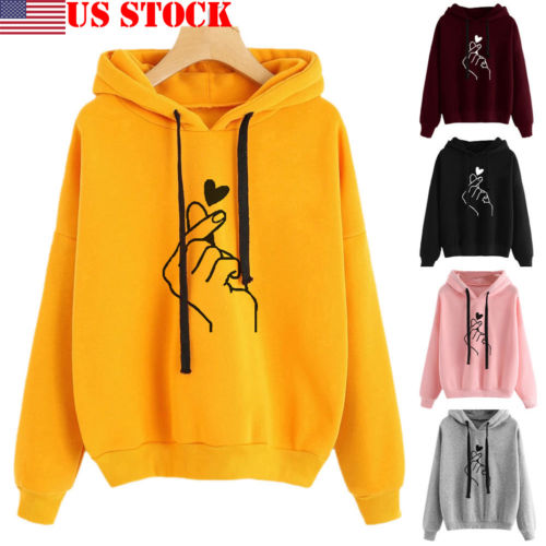 2019 Spring New Women Hoodies Long Sleeve Cotton Boyfriend Style Heart Gesture Hoodie Hooded Sweatershirt Dropshipping