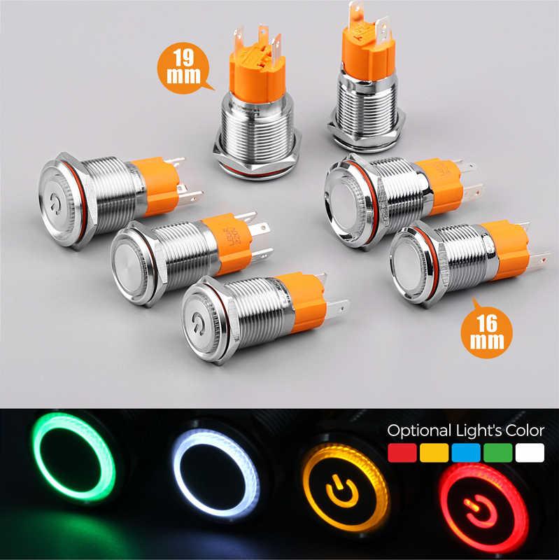 LANBOO hersteller 16mm 12V110V 24V 220V LED licht Hohe strom 10A high-power rast momentary selbst-lock push button switch