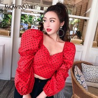 TWOTWINSTYLE Spring New V Neck Puff Sleeve Polka Dot Womens Shirt Blouse Nine Sleeves Crop Tops Female 2019 Fashion Casual