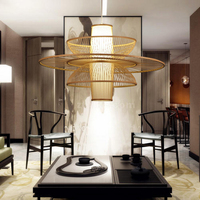 Japanese Bamboo Pastoral Rattan pendant lamp Wooden Restaurant Lighting Bamboo Decorative pendant lights